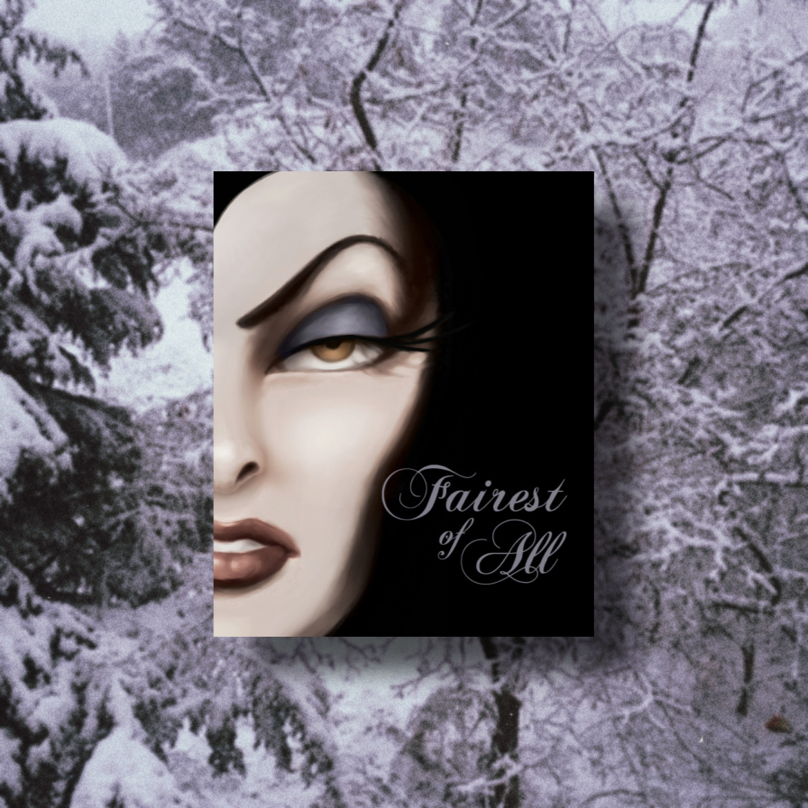 Background of snow covered trees, book cover for Fairest of All by Serena Valentino