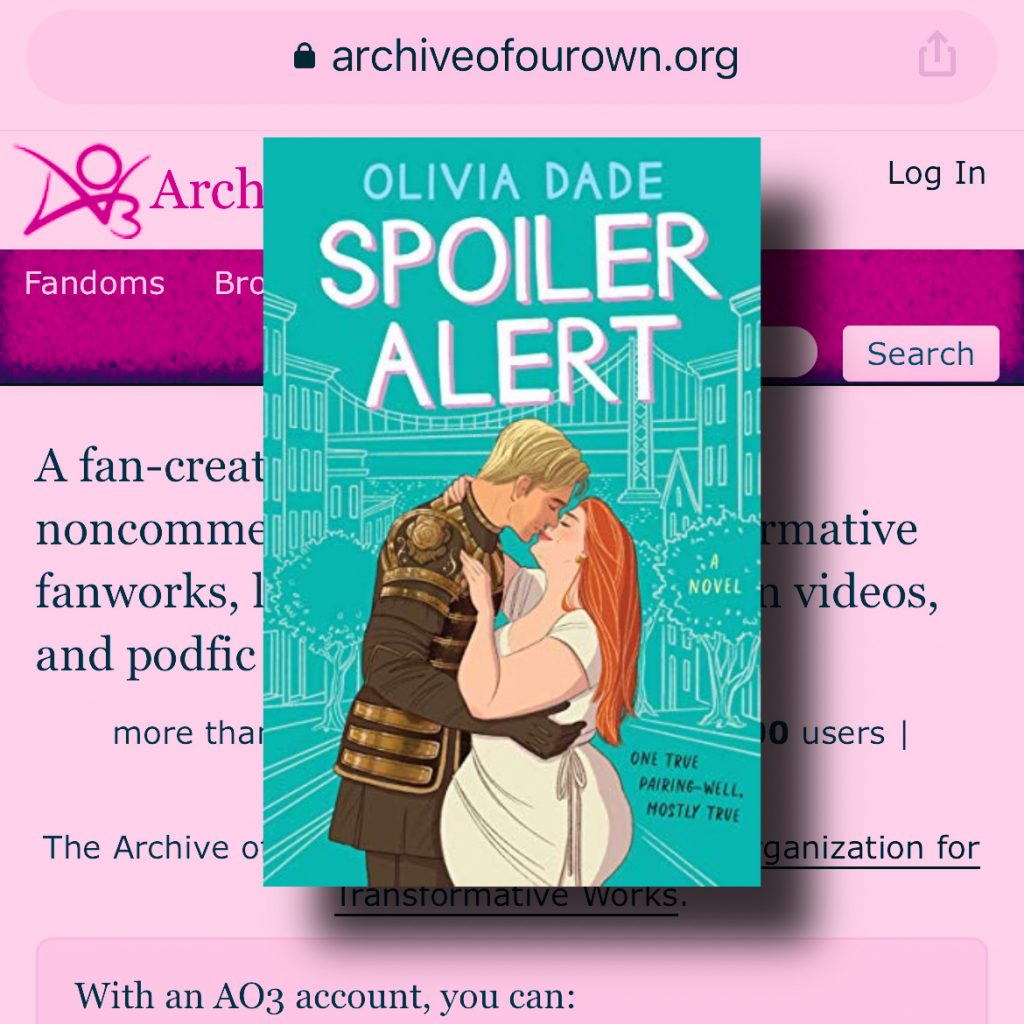Screencap of AO3 tinted pink with image of Spoiler Alert novel cover on top